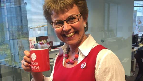 Kathrine Kleveland på besøk i Vote Leave-hovedkvartere i London. Foto: Nei til EU