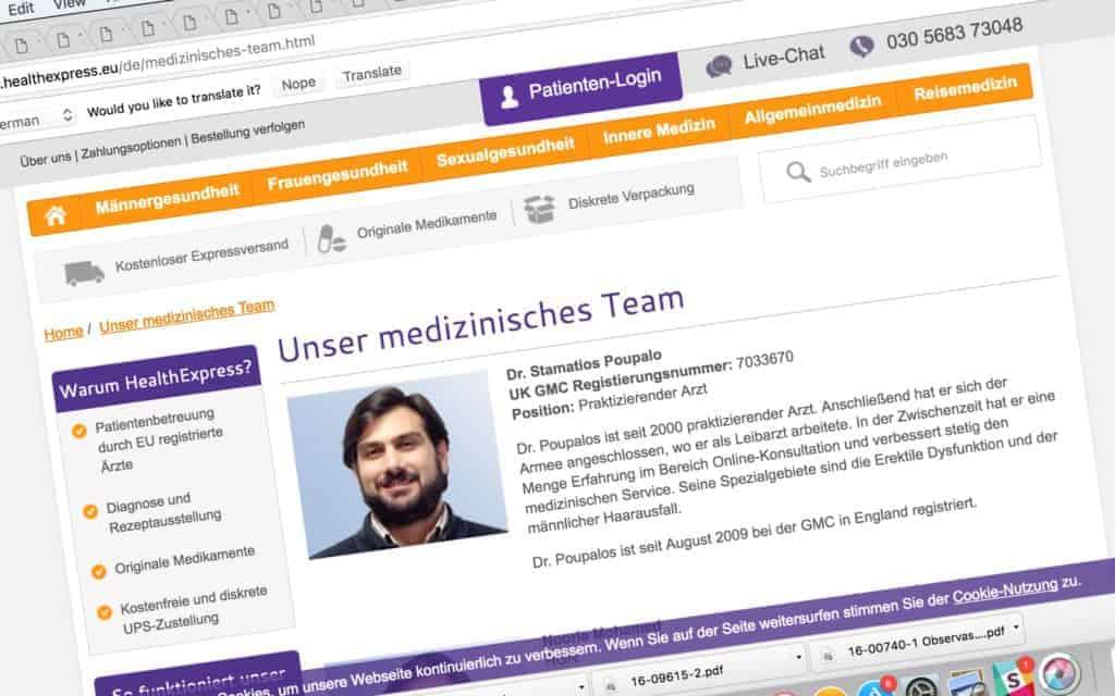 Legen som forskriver resepter til mange nordmenn er oppført som ansvarlig for Hexpress' nettapoteker også i en rekke andre land, her Tyskland.