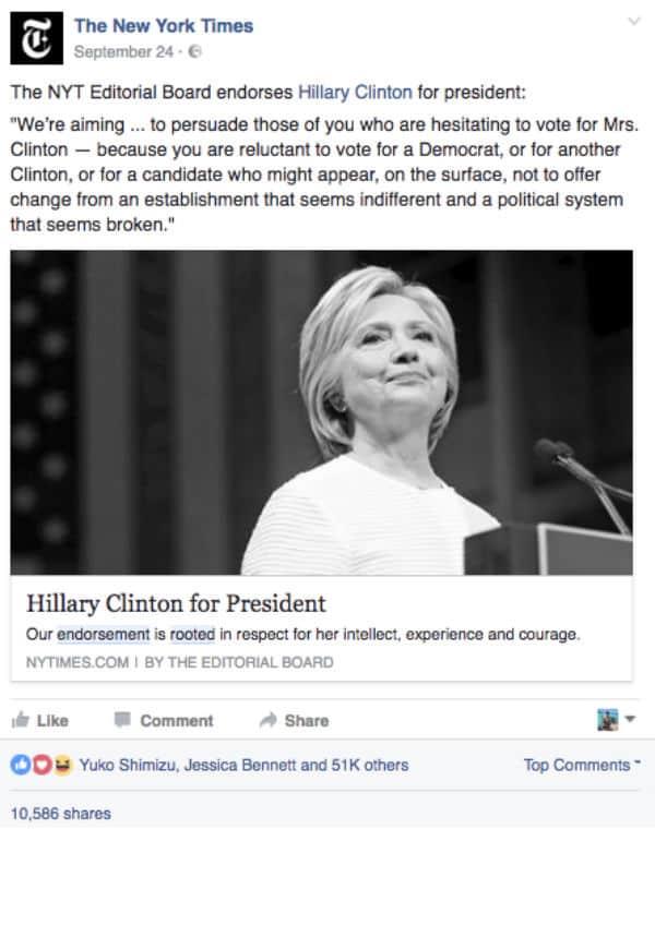 New York Times' Hillary-endorsement; delt 15 000 ganger.