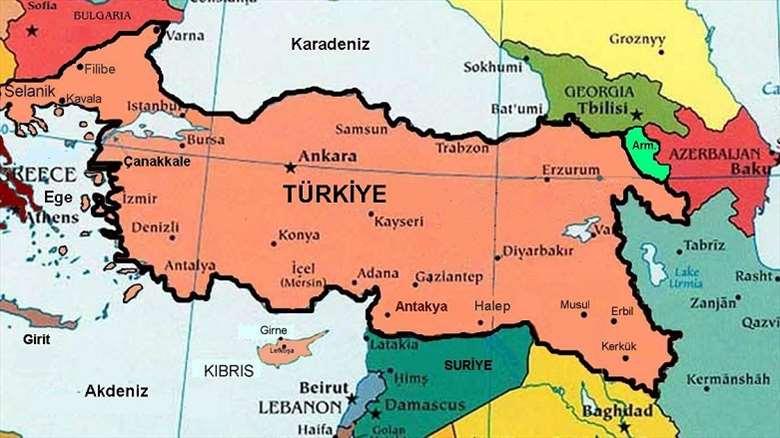 kart over tyrkia og syria Midt i slaget om Mosul bruker Erdoğan dette kartet – der byen er  kart over tyrkia og syria